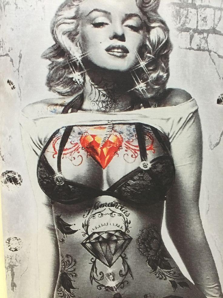 [Amy] 2015 3D t shrit Men/women marilyn monroe Sexy tattoo t-shirt roses short sleeve o neck summer tshirt free shipping