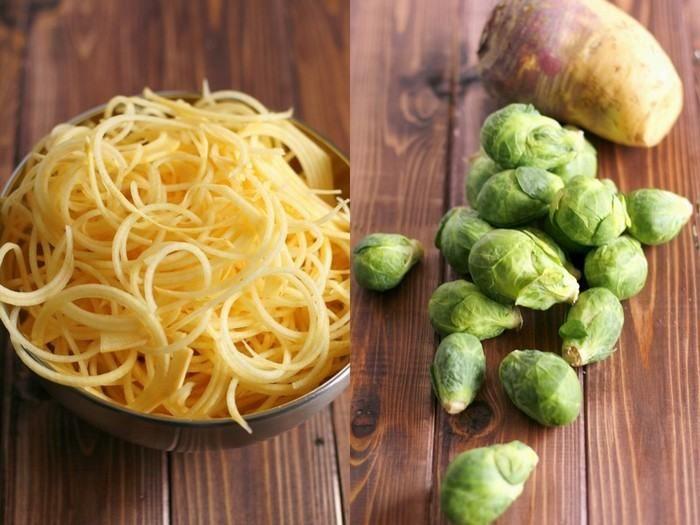 Pasta de Nabo con salsa Alfredo Vegetariana y Coles de Bruselas