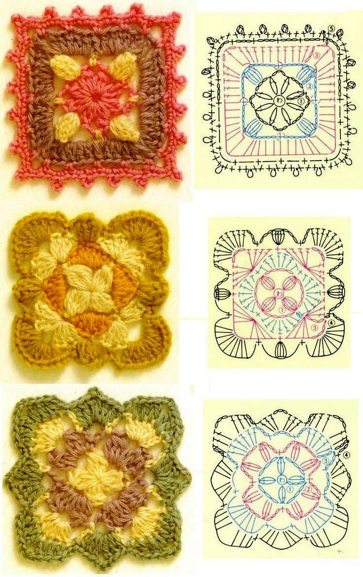 Patrones de ganchillo. Crochet pattern.: Crochet Blocks, Crochet Granny Squares, Gifts Ideas, Crochet Motif, Crochet Diagram, Crochet Squares, Granny Patterns, Crochet Patterns, Flowers Charts