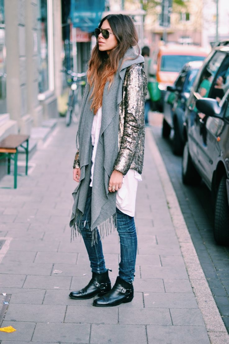 Maja wyh Sequin coat + scarf + white button down + jeans + boots