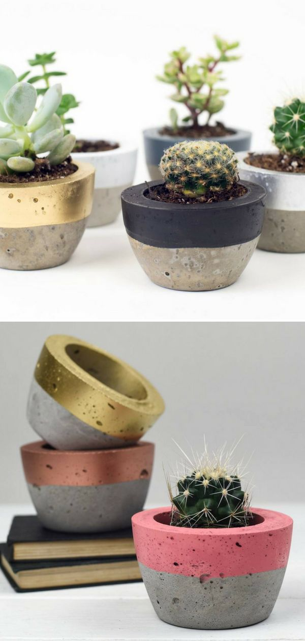 A beautiful hand crafted concrete color block planter. These planters are the perfect size for mini cactus or succulents. Mixing the industrial look of this material with a stripe of color, the planters look lovely in any room in our house bringing a little bit of the outside in. #ad #concrete #planter #flowerpot #colorblock #homedecor #cement