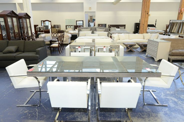 Modern Glass Covered Dining Set with white seating chairs - GH Johnson Trading