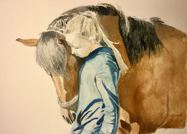Horse & Girl #art #watercolour #horse