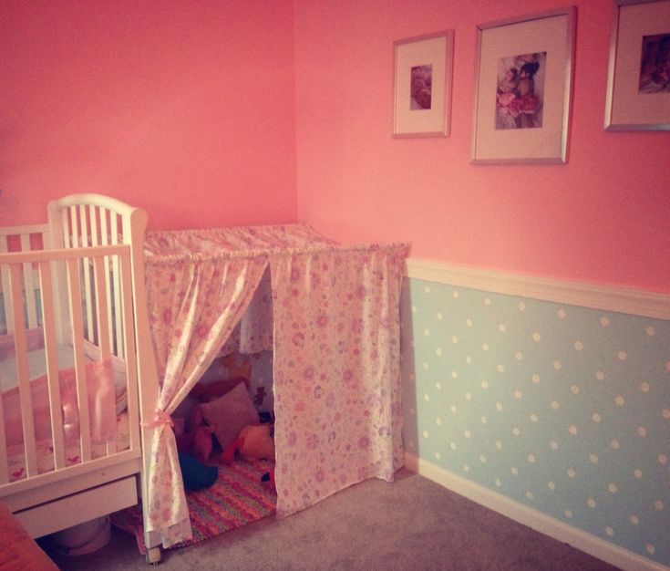 bedroom sheet into a tent reading nook via little pink monster