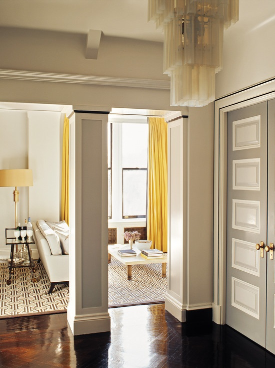 yellowThe Doors, Interiors, Colors, Yellow Curtains, Living Room, Painting Doors, Grey Wall, Steven Gambrel, Gray Wall