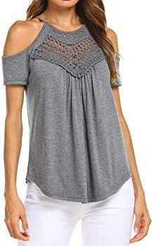 5a5bc1dec9c Womens Sexy Off Shoulder Short Sleeve Tops Patchwork Tunic Shirt Blouses  Gray XL at Amazon Women's Clothing store