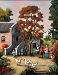 Another beautiful village scene from Bea Wolfaardt http://thedoddsgallery.co.za/artists/Bea%20Wolfaardt.html