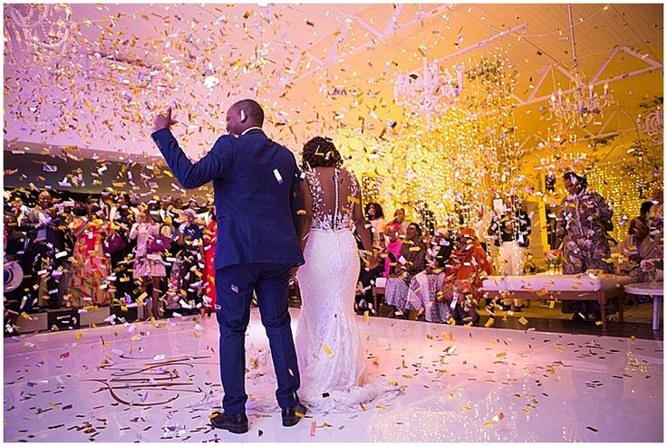 Confetti celebrations on the white, personalized dance floor.