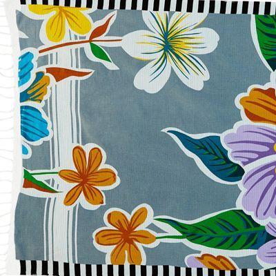 Fleurs hawaïennes qui donnent des envies d'ailleurs! Les couleurs vives invitent au voyage, alors que les bordures contrastées noir et blanc jouent la douceur et l'élégance. Un beau mix pour l'été!