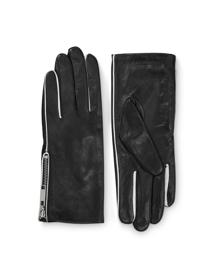 PISSARRO GLOVES - Women's gloves in nappa leather. Features zip detail and contrast coloured piping. Fleece lining at inside. Embossed Tiger of Sweden logo.