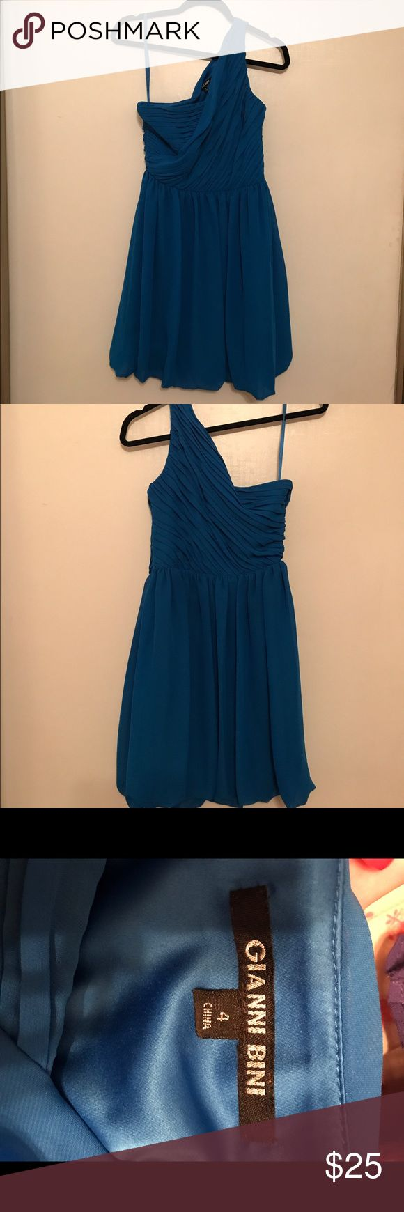 Gianni Bini One Strap Dress One strap, blue very fun and light weight dress Gianni Bini Dresses One Shoulder