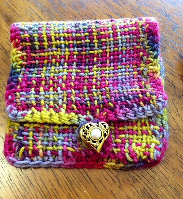 Ravelry: HokieKnitter's Bellatrix Plaid Potions Pouch made on a Zoom Loom
