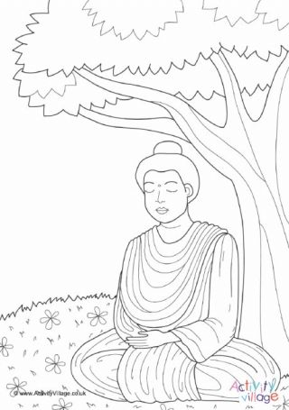 Buddha Under Bodhi Tree Colouring Page in 2019 | Tree ...