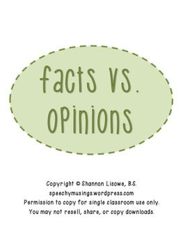 17 Best images about Fact vs Opinion on Pinterest | Activities ...