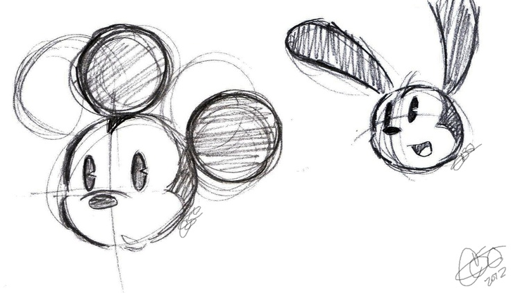 micket mouse & Oswald the lucky rabbit sketch (Something like this would make a cool tattoo. do want.)