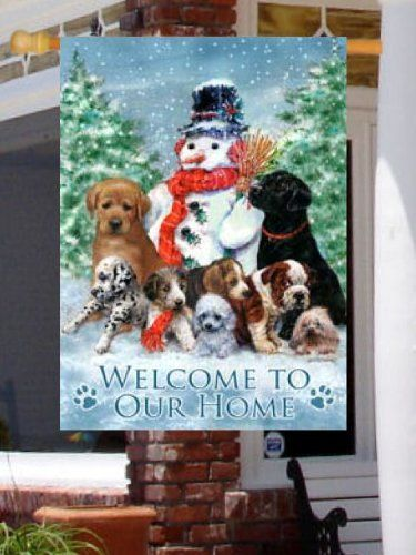 Welcome to our home snowman dogs large flag by custom for Custom decor inc