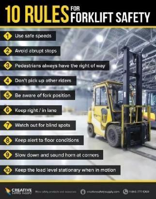 10 Rules for Forklift Safety #materialhandling #forkliftsafety #safetyfirst