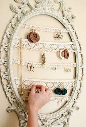 frame jewelry holder | ... frame from style me thrifty green purple frame twig art rows of lace