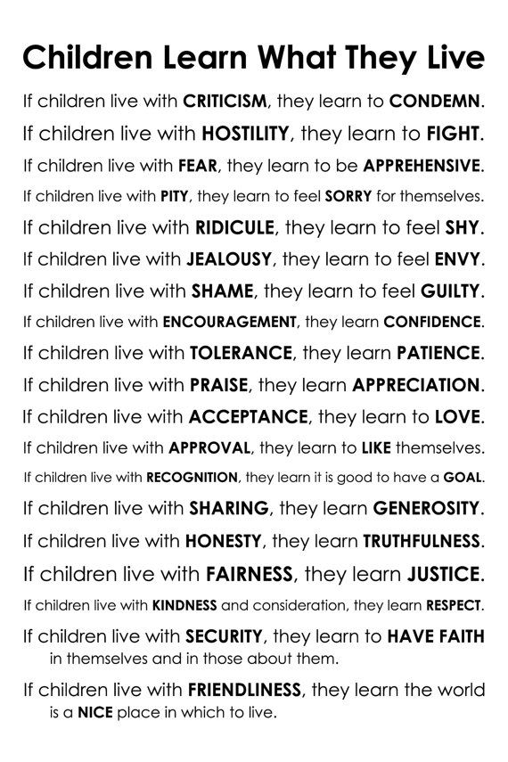 Children Learn What They Live Poem by Dorothy Law by karimachal, $30.00