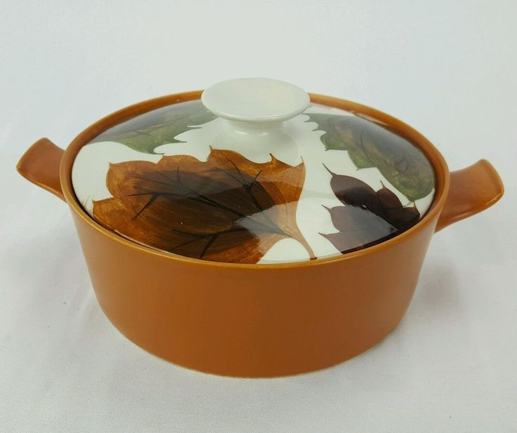Oven King Casserole with Lid Small Burnt Orange Fall Leaves 8 x 6 x 3 MidCentury