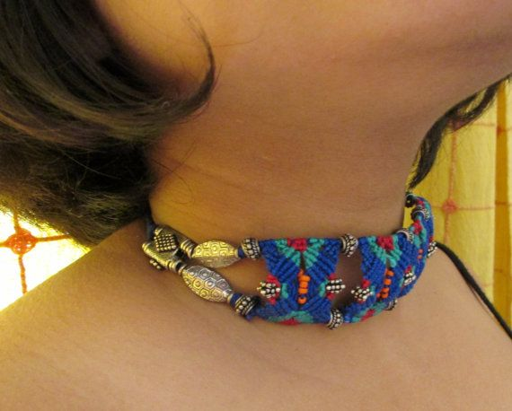 Multi-coloured Multi-purpose Necklace Bracelet Armband Hair-tie/band Macrame jewellery