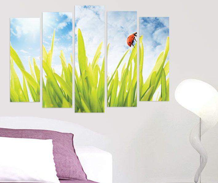 Doğa uğur böceği 4 parçalı tablolar