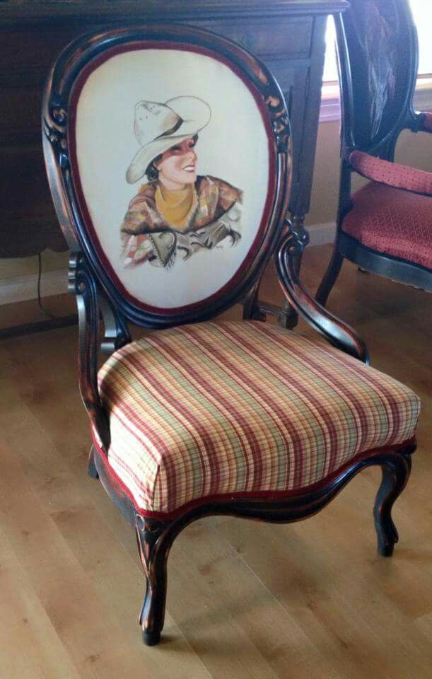 Nice Beautiful Antique Parlor Chair With Hand Painted Canvas By Yours Truly!  Please Like And Share Amazing Design