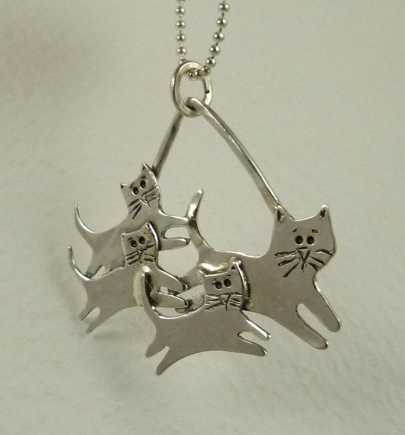 Cyan And Her Kittens - Up Cycled Sterling Silver - Echo Friendly - Cat - Echo Friendly -  Empowerment - Art Jewelry Pendant - 1764