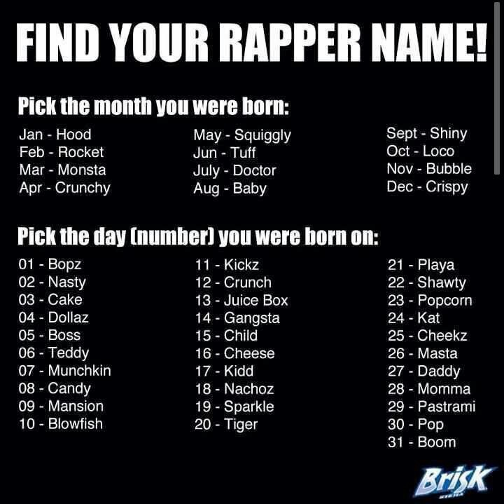 Funny Rapper Names! I'm Tuff Juice Box. What's your name???