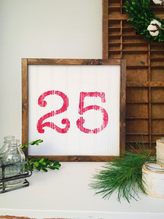December 25 Sign Rustic 25 sign Christmas Sign by TheMacadamiaShop