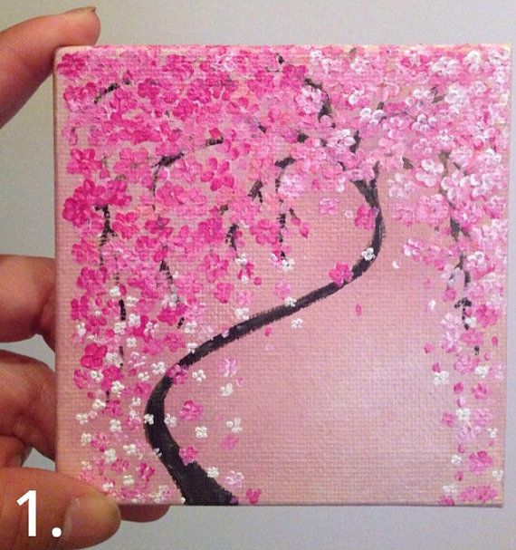 Pictures 1 & 2 have been hand painted by me using acrylics on a miniature 4x4 canvas. Picture 3. is SOLD but can be re-created by me using polymer clay