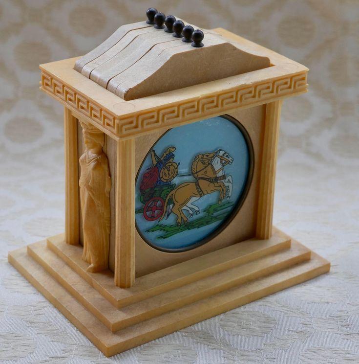 Greek Myth Coasters, Parthenon Holder, Greek Mythology, Drink Coasters, Vintage Coasters, Wine Coasters, Wine Glass Mats, Table Coasters by RetroEtCetero on Etsy https://www.etsy.com/listing/526490828/greek-myth-coasters-parthenon-holder
