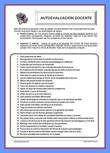 Material para descargar e imprimir muy práctico para realizar la autoevaluación docente, en Infantil, Primaria y Secundaria
