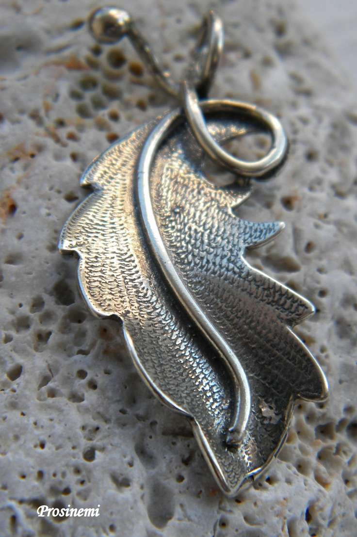 by prosinemi on Etsy  Autumn leaf engraved sterling silver handmade pendant. €47.00, via Etsy.