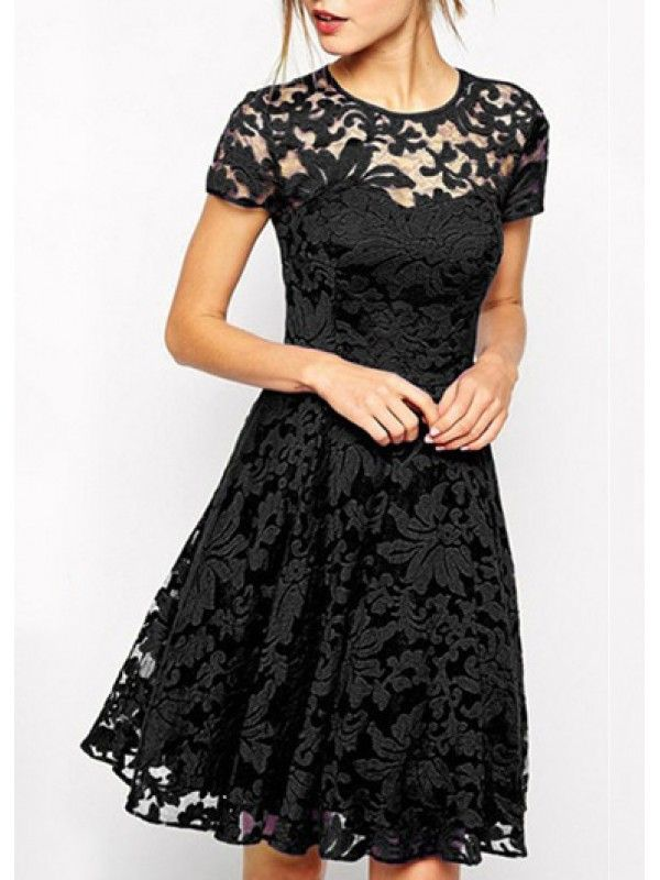 Modern dreses: Short Sleeve Lace Embroidered Skater Dress