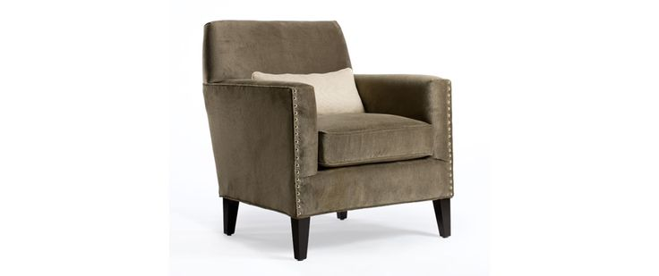 """Jeffrey Fabric: Dunhill Pebble Grey Includes one kidney pillow 20"""" x 10""""  Also available in leather  CHAIR (as shown) Length (overall) 31"""" Length (inside) 22"""" Depth (overall) 33"""" Depth (seat) 22"""" Height (overall) 36"""" Height (arm) 27"""" Height (seat) 20"""""""