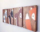 Set of 4 woodland animals, woodland nursery, fox sign, forest animals fox nursery, raccoon, baby shower gift