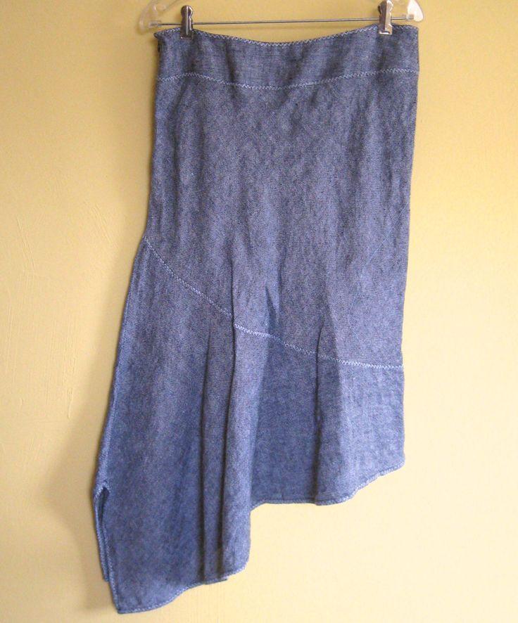 Asymmetric Linen Skirt / Salt and Pepper Linen Skirt by Outfit JPR by vintagous on Etsy