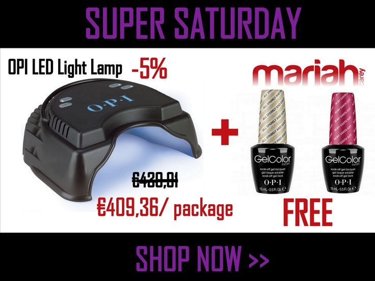 Dont't miss it! Get OPI LED Light Lamp with 5% OFF and then enjoy TWO FREE OPI GelColors from Mariah Carey Holiday Collecttion 2013. At first add to basket OPI LED Light Lamp then apply the code: GELCOLOR-Free to see the free gifts available. This offer is valid till the end of October.