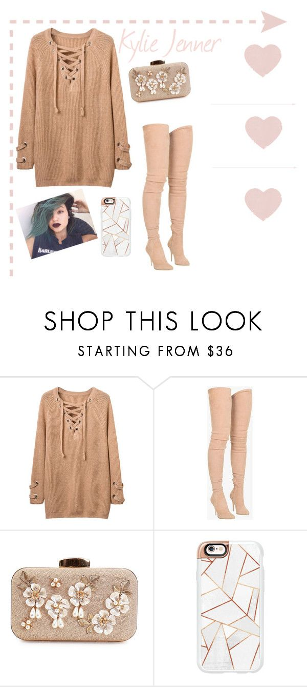 """Kylie Jenner"" by pretty-little-dreamers ❤ liked on Polyvore featuring Balmain, Casetify, denim, hair, balmain, kardashian and KylieJenner"
