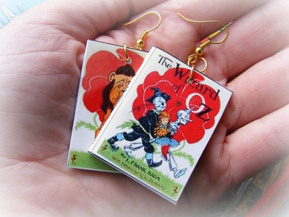 Earrings or Necklace Wizard of Oz Miniature Books by Mindiemay, $19.99