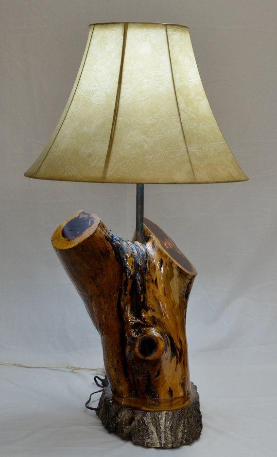 Hand Made Rustic Cedar Log Lamp By Jaynascountrystore On