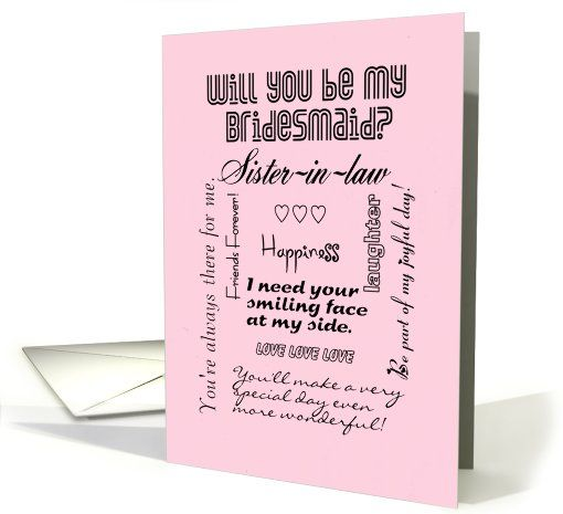 Will You Be My Bridesmaid Sister-in-Law Words Pink Card