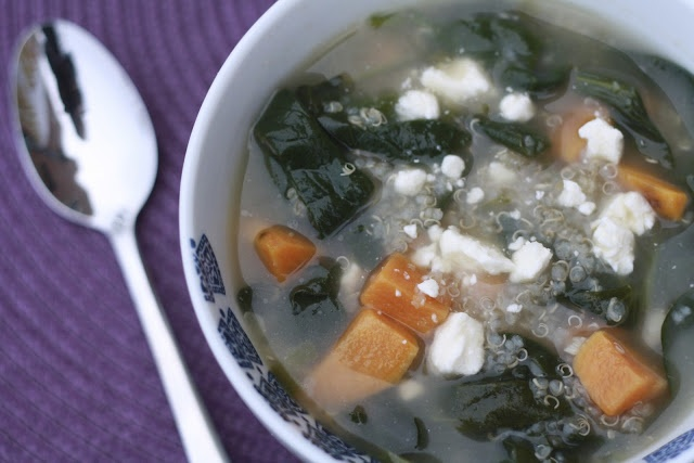Quinoa Chowder with Sweet Potatoes, Spinach, Feta and Scallions More