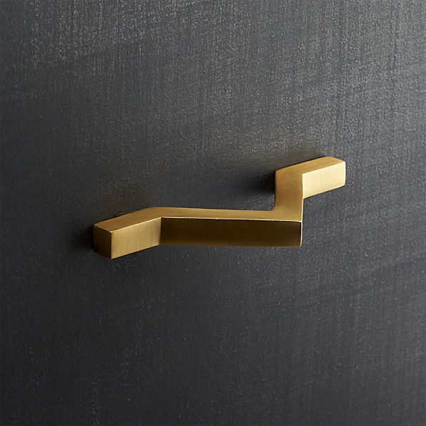 chevron brass drawer pull    CB2