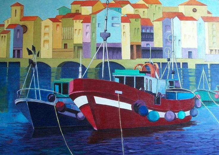 Titulo: Barcos pesqueros 2, acrilico sobre lienzo, 116 x 81, 1200 €