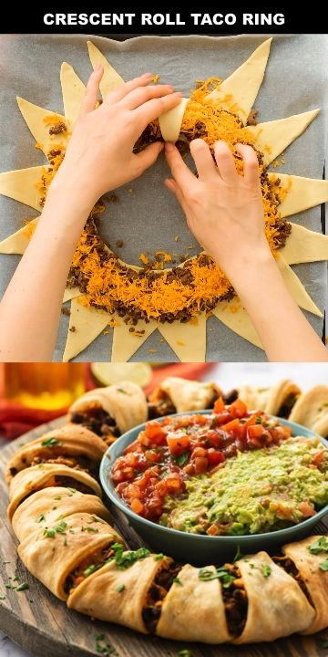 This Crescent Roll Taco Ring is a family favorite weeknight dinner recipe. It is super easy to make using only about 5 ingredients and takes less than 20 minutes. Ground beef (or ground turkey or chicken), Pillsbury crescent rolls, shredded cheese! Top with salsa, guacamole and lettuce and you are all set! This also makes are super easy appetizer to feed a crowd!  #easydinner #crescentroll #easyrecipe #appetizer #fingerfood #kidfriendly