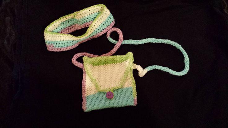 Purse & headband (purple/white/blue/green) by FabNGrab on Etsy