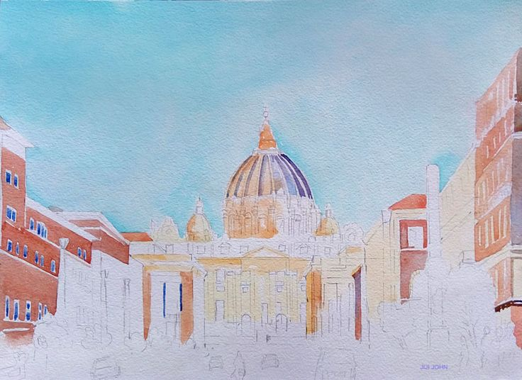 St Peters Basilica .. Water color Step -2