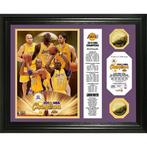 Los Angeles 2010 NBA Champions 24KT Gold Coin Banner Photo Mint